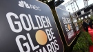 Signage promoting the 77th annual Golden Globe Awards and NBC appears in Beverly Hills, Calif. on Jan. 5, 2020. NBC said Monday that will not air the Golden Globes in 2022. (Photo by Jordan Strauss/Invision/AP, File)