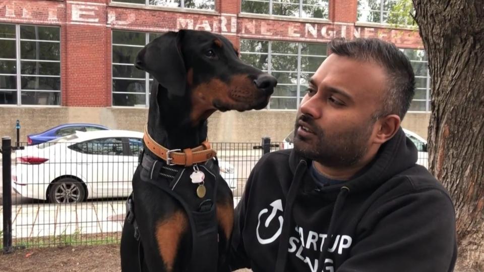 Damiano Raveenthiran and his Doberman puppy, Cash