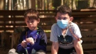 Grade 1 students at Forest Hill Junior School in St-Lazare wear their cordelettes on their masks.