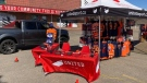 Edmonton Oilers fans can buy merchandise without leaving their vehicle as the team gets ready for its first playoffs appearance since 2017. (Dave Mitchell/CTV News Edmonton)