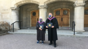 Bonnie Morton and Peter Gilmer pose with their honorary degrees. (Taylor Rattray  CTV News Regina)