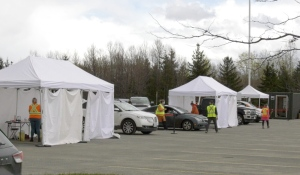 Close to 800 people showed up on Monday as Primacy Medical Centre held its first drive-thru vaccination clinic. The clinic was by appointment only as most, if not all, were given their first shot of the Moderna vaccine. (Ian Campbell/CTV News)