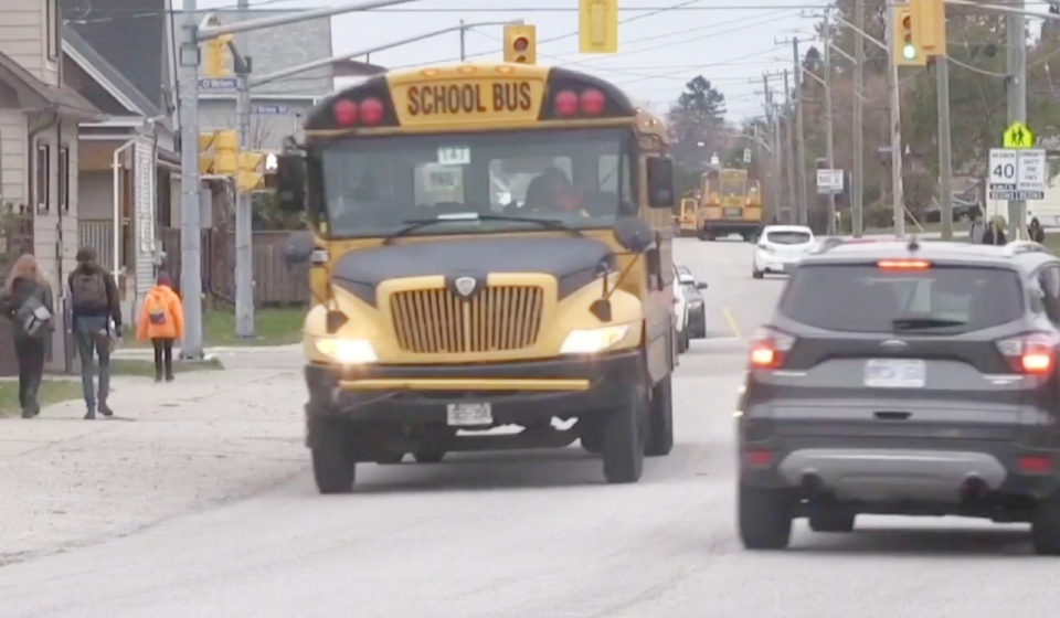 Amber school buses