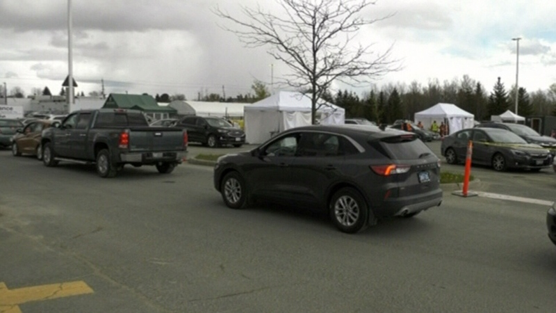 Drive-thru vaccines popular in Sudbury