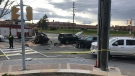 A multi-vehicle collision is pictured at Weston Road and Steeles Avenue West Monday May 10, 2021. (Craig Wadman)