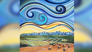 Artists from Alberta, British Columbia and Ontario have donated their art for an online auction. Proceeds will go to the Livingstone Landowners Group, which is leading the fight against mountaintop mining projects slated for the Crowsnest Pass area. Above: Alberta Harvest by Janifer Calvez