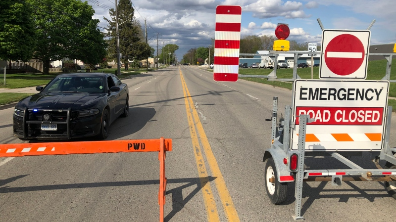 Chatham-Kent police and the OPP Explosive Device Unit had a section of Park Avenue closed to investigate a suspicious package in Chatham, Ont. on Monday, May 10, 2021. (Angelo Aversa/CTV Windsor)