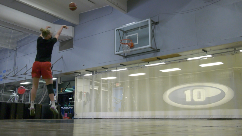 Regina's Quinn Dornstauder trains at Level 10 ahead of Basketball Canada's Olympic selection camp (Claire Hanna/CTV Regina)