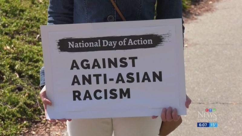 Protesting anti-Asian hate crimes