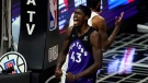 Toronto Raptors forward Pascal Siakam (43) celebrates after scoring during the second half of an NBA basketball game against the Los Angeles Clippers Tuesday, May 4, 2021, in Los Angeles. (AP Photo/Marcio Jose Sanchez)