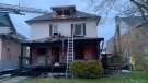 Scene of an early morning house fire on Elm Street in Sudbury. May 11/21 (Jesse Oshell)