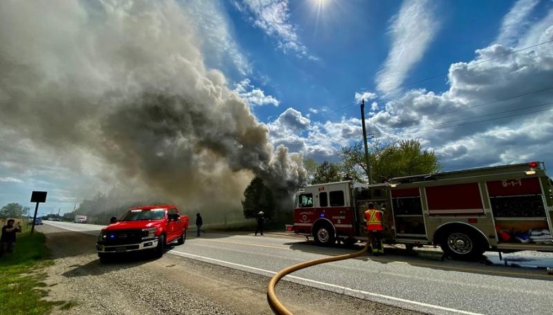 Tecumseh Fire battle blaze in 5700 block of Walker