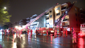 Dozens of people were evacuated from their homes after a fire broke out in Montreal's Côte-des-Neiges neighbourhood.