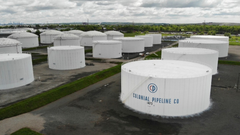 Colonial Pipeline storage tanks in Woodbridge, N.J., on May 10, 2021. (Ted Shaffrey / AP)