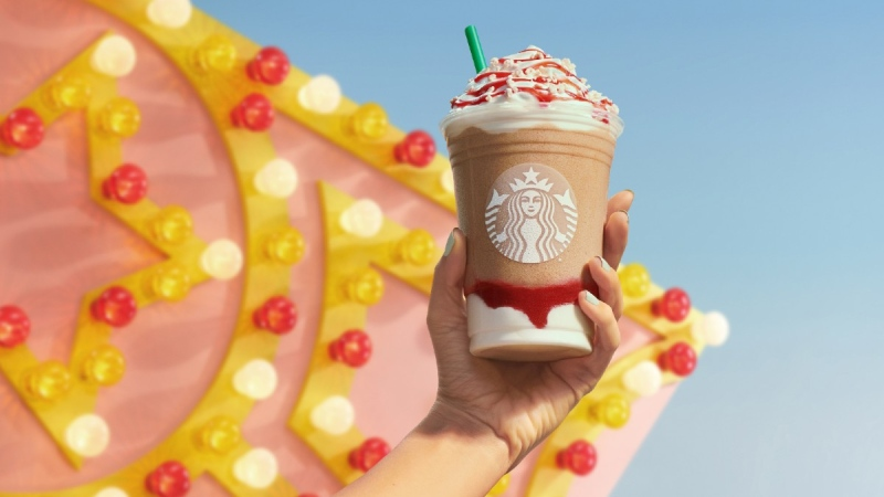 A Starbucks Strawberry Funnel Cake Frappuccino. (Source: Starbucks via CNN)