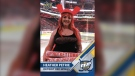 Detroit Red Wings super fan Heather Petrie. (Courtesy Upper Deck / Twitter)