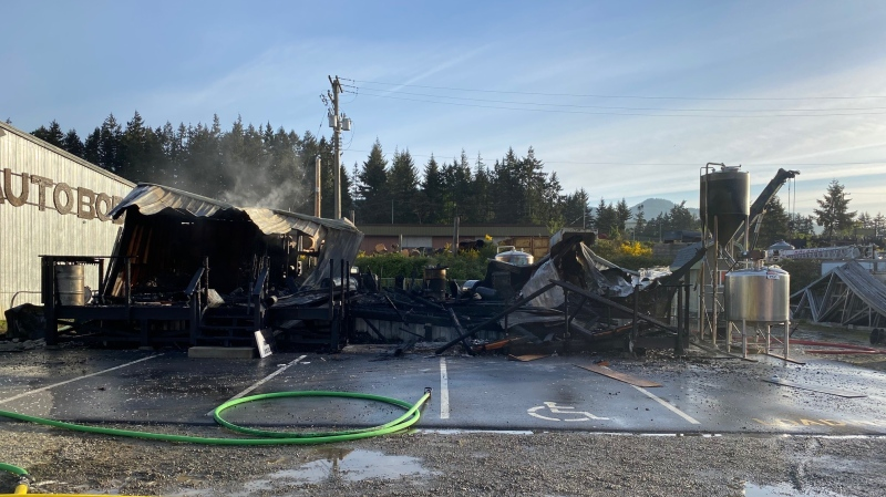 Sooke fire Chief Kenn Mount says fire crews found the Island Shiners distillery building fully involved on arrival. (Kenn Mount)