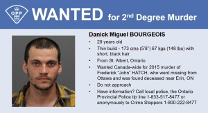 OPP have issued a Canada-wide arrest warrant for Danick Miguel Bourgeous, 29, of St. Albert, Ont. in connection with the 2015 death of Frederick 'John' Hatch. (OPP handout)