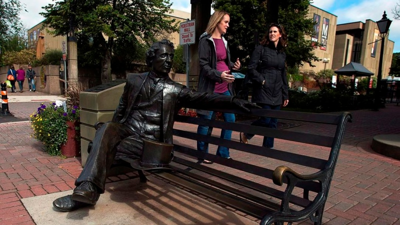 Charlottetown city council will install a statue of an Indigenous elder or child next to a downtown statue of Sir John A. Macdonald to create the image the two are in conversation. (Photo: THE CANADIAN PRESS)