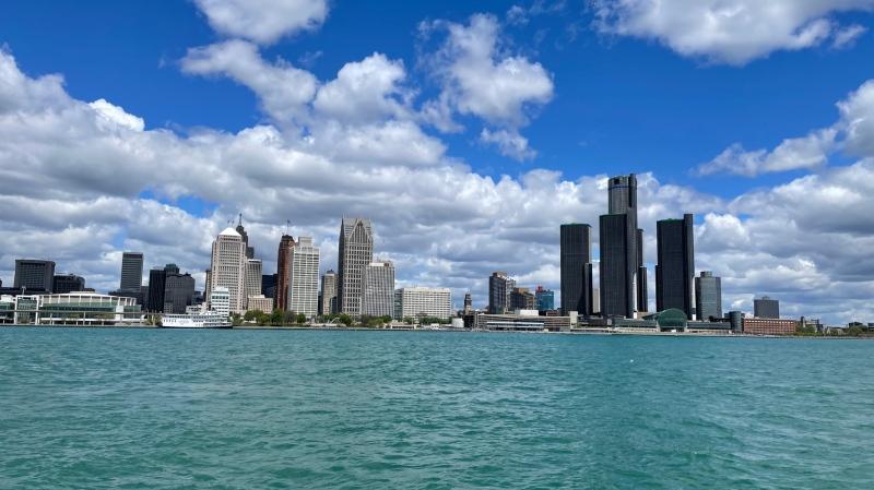 Detroit skyline view from Windsor, Ont. on May 11, 2021. (Melanie Borrelli/CTV Windsor)