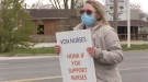 VON nurse Alicia Pegg on picket line in Sarnia, Ont. on May 11, 2021. (Brent Lale/CTV London)