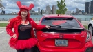Detroit Red Windsor super fan Heather Petrie in Windsor, Ont., on Tuesday, May 11, 2021. (Melanie Borrelli / CTV Windsor)