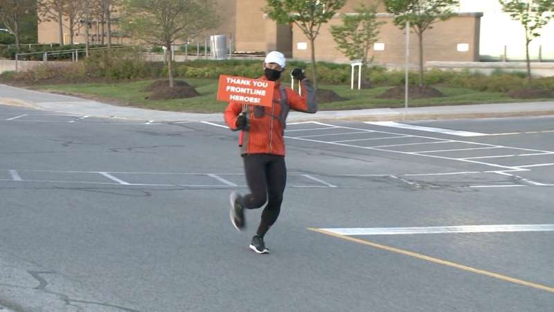 Mike Herzog is running 14 kilometres every day this month as a way to say thank you to front-line workers. (Jim O'Grady / CTV News Ottawa)