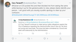 Cary Tarasoff, who collected 2,600 votes in the November civic election has been blocked by the City of Saskatoon.