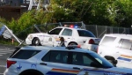 Nanaimo RCMP cruiser struck in intersection on Monday, May 10, 2021. (Julia Rose)