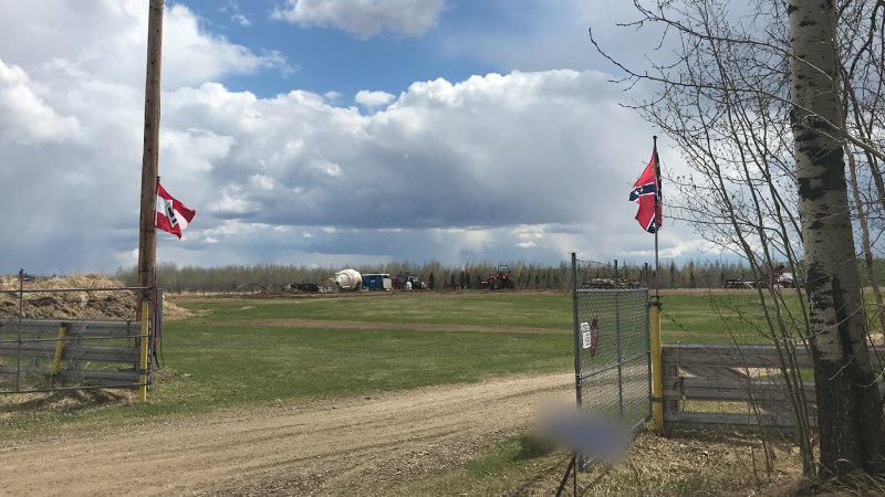 Nazi and confederate flags were seen flying at a property near Breton. Tuesday May 11, 2021 (CTV News Edmonton)