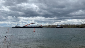 The second of four Port Lands bridges arrived in Toronto on May 11, 2021. (Saron Fanel/CTV News Toronto)