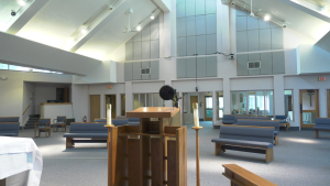 All Saints' Anglican Church in Waterloo has rearranged its sanctuary to hold online services to comply with public health restrictions on indoor gatherings. The restrictions are meant to stop the spread of COVID-19. Monday, May 11, 2021. (Ricardo Veneza/CTV News)
