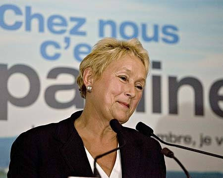 Parti Quebecois Leader Pauline Marois smiles at the beginning of her nomination meeting speech Wednesday, Aug. 29 2007 in Beaupre, Que. (CP PHOTO/Jacques Boissinot)