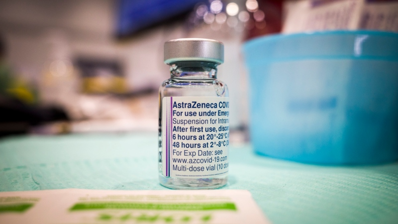 A vial of AstraZeneca vaccine is seen at a mass COVID-19 vaccination clinic in Calgary on Thursday, April 22, 2021. (THE CANADIAN PRESS / Jeff McIntosh)