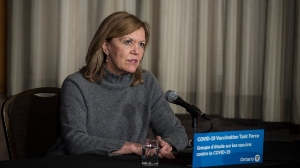 Christine Elliott, Deputy Premier and Minister of Health, responds to a question during a press conference regarding COVID-19 vaccine distribution, at Queen's Park in Toronto. THE CANADIAN PRESS/ Tijana Martin