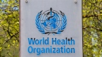 The logo and building of the World Health Organization (WHO) headquarters in Geneva, Switzerland, seen in this April 15, 2020 file photo. (Martial Trezzini/Keystone via AP)