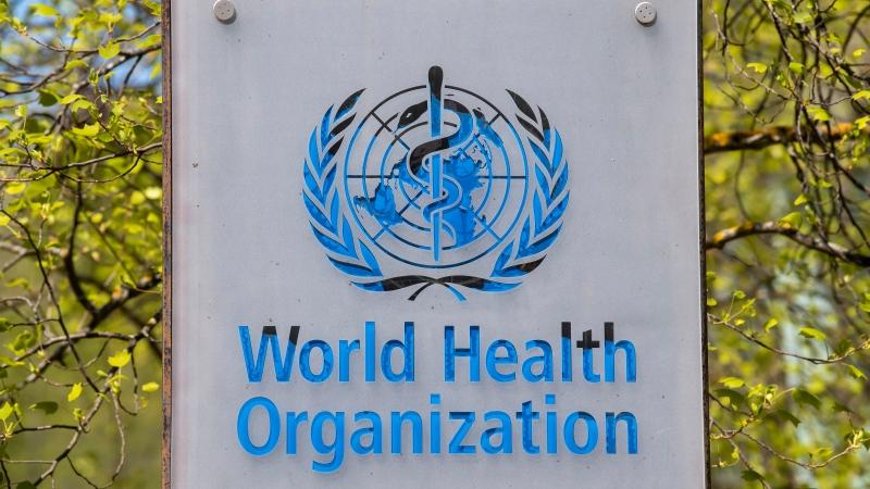 The logo and building of the World Health Organization (WHO) headquarters in Geneva, Switzerland, seen in this April 15, 2020 file photo. (Martial Trezzini/Keystone via AP)