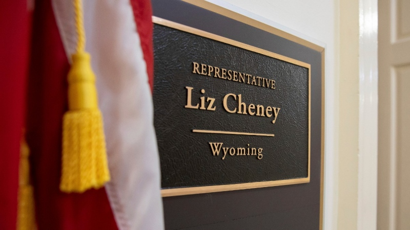 A sign bearing the name of Rep. Liz Cheney, R-Wyo., outside of her office on Capitol Hill in Washington, on May 11, 2021. (Amanda Andrade-Rhoades / AP)