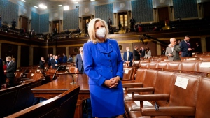 Rep. Liz Cheney, R-Wyo., arrives to the chamber ahead of U.S. President Joe Biden speaking to a joint session of Congress, on April 28, 2021. (Melina Mara / The Washington Post via AP, Pool)