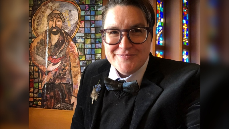 This April 2021 selfie photo shows the Rev. Megan Rohrer, at the Grace Lutheran Church in San Francisco. Rohrer was elected bishop of the Evangelical Lutheran Church in America's Sierra Pacific synod on Saturday, May 8, 2021, becoming the first transgender person to serve as bishop in the denomination or in any of the U.S.' major Christian faiths. (Meghan Rohrer via AP)