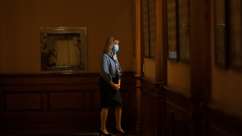 Ontario's Health Minister Christine Elliott is pictured outside Premier Doug Ford's office, at the Queens Park Legislature in Toronto on Wednesday, April 7, 2021. THE CANADIAN PRESS/Chris Young
