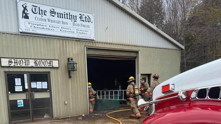 The Muskoka Lakes Fire Department respond to a fire at a business on Muskoka Road 169 on Tues., May 11, 2021. (Muskoka Lakes Fire Department)