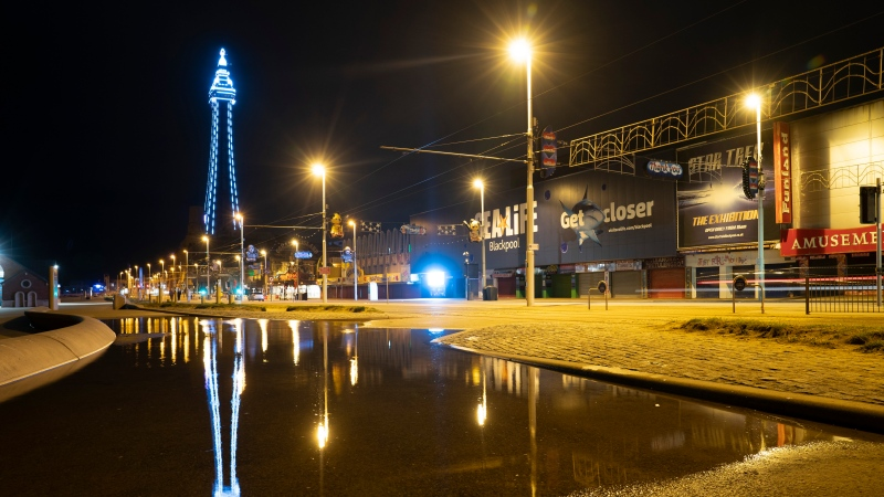 A nine-year-old boy died in Blackpool, U.K., seen in this Nov. 5, 2020 file photo, has died after being hit by lightning.