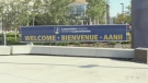Laurentian University's trilingual welcome sign. (CTV Northern Ontario)