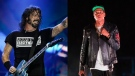 This combination photo shows, from left, Dave Grohl of the band Foo Fighters and Jay-Z. Foo Fighters, Jay-Z and the Go-Go's will be inducted into the Rock and Roll Hall of Fame, along with Tina Turner, Carole King and Todd Rundgren. The ceremony, to be held at the Rocket Mortgage Fieldhouse in Cleveland, will be simulcast on SiriusXM and air later on HBO. (AP Photo)