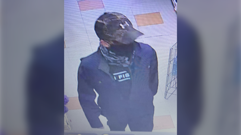 Police say they arrived at the business around 5 p.m. and confirmed that a man had entered the store armed with a gun and demanded drugs from an employee. (Photo Courtesy: RCMP)