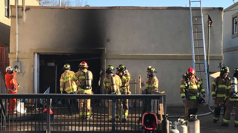 Firefighters were called to a commercial building at 111 Avenue and 93 Street on May 12, 2021, for a fire.