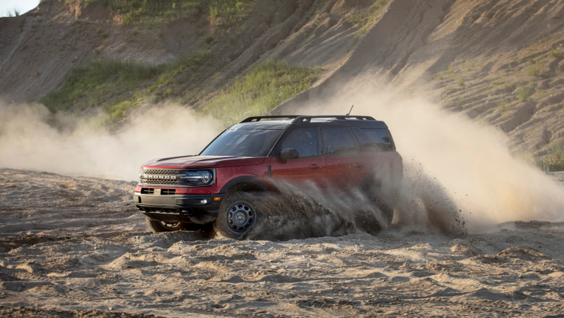 This undated photo from Ford shows the 2021 Bronco Sport, a small SUV with impressive off-road capabilities. (Courtesy of Ford Motor Co. via AP).