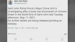 Body found in Saint John, N.B.