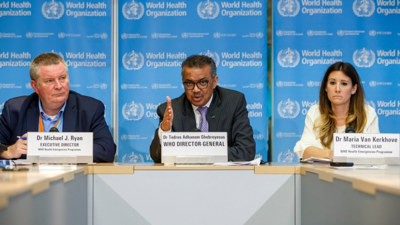 In this file photo dated Monday, March 9, 2020, Tedros Adhanom Ghebreyesus, director general of the World Health Organization, centre, speaks during a news conference on updates regarding on the coronavirus COVID-19, at the WHO headquarters in Geneva, Switzerland.  (Salvatore Di Nolfi/Keystone FILE via AP)